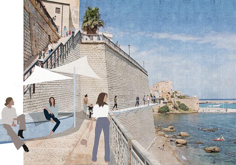 Percorsi pedonali e terrazze sul mare di Castellammare del Golfo