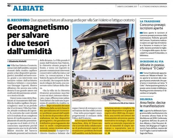 Villa San Valerio e l'Oratorio saranno risanati dalla risalita capillare grazie all'installazione di due dispositivi geomagnetici