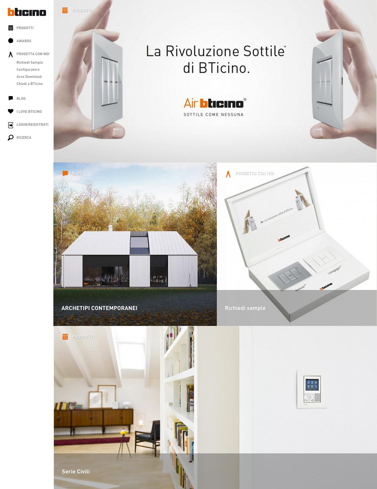 Il nuovo sito bticino dedicato agli architetti for Sito per architetti