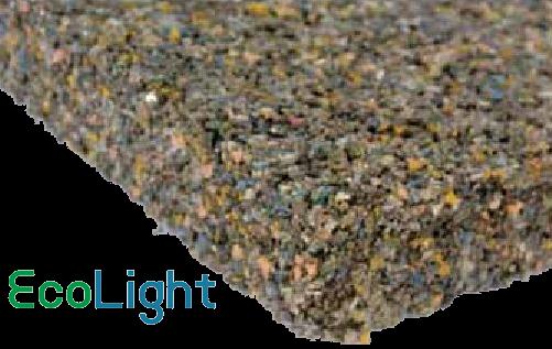 Eco Light - Miscela polimerica per sottofondi alleggeriti e riempimenti  Ecolight è un granulato sintetico calibrato pronto all'uso, dalle eccezionali doti di leggerezza e isolamento sia termico che acustico. Può essere impiegato per realizzare sottofondi (copertura degli impianti, livellamento del piano di posa, etc).