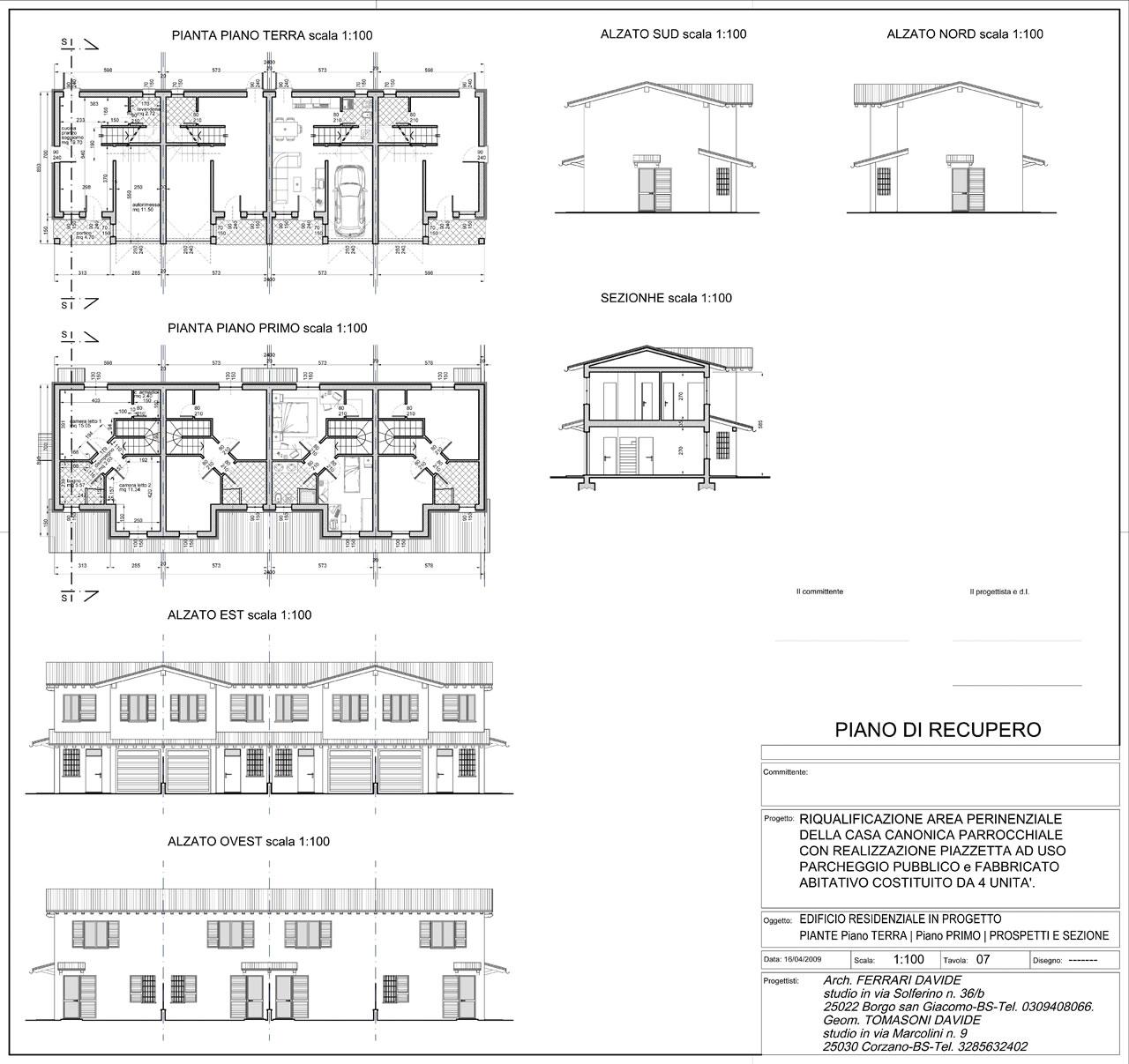 PIANO DI RECUPERO in itinere 16-11-2018 - edificio residenziale di progetto. piante e alzati