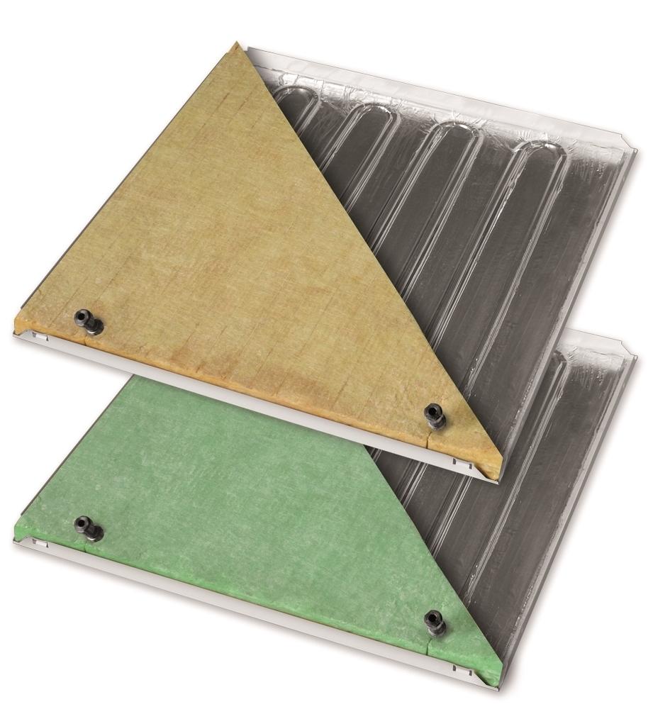 """Pannelli radianti metallici b!klimax+ 600x600 Copper 8 - b!klimax+ Copper 8 è un sistema ad altissima resa per impianti radianti a soffitto con plafoni metallici 600x600 mm in versione microforata, dotati di serpentina in rame rivestita da uno strato in alluminio e disponibili con isolamento termico in fibra di poliestere o in lana di vetro. I plafoni radianti metallici sono provvisti di raccordi ad innesto rapido e vengono collegati tra loro mediante tubazioni in PE-RT Ø 8 mm. Grazie al tipo di struttura modulare, nascosta e ancorata al soffitto tramite pendinatura regolabile, i pannelli possono essere aperti con sistema basculante (o """"a botola"""") per interventi di ispezione e manutenzione. b!klimax+ Copper 8 è particolarmente adatto ad essere installato in edifici del settore terziario, come uffici, ospedali, ambienti commerciali, ecc."""