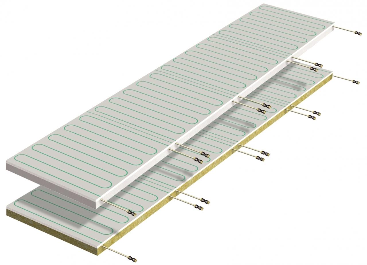 Pannelli radianti b!klimax+ 600x2400 e 1200x2400 in cartongesso - Pannelli radianti b!klimax+ composti da una lastra in cartongesso dello spessore di 12.5 mm. Sulla superficie della lastre sono stampati i disegni dei circuiti idraulici. Sul cartongesso sono fissati tramite un diffusore metallico in alluminio i circuiti idraulici realizzati mediante tubazioni in PB Ø 6 mm (con raccordo ad innesto rapido) dotate di barriera contro la diffusione dell'ossigeno secondo DIN 4726. Il pannelli sono disponibili con isolamento in polistirene o in lana di roccia. Misure 600x2400x52 mm oppure 1200x2400x52 mm.