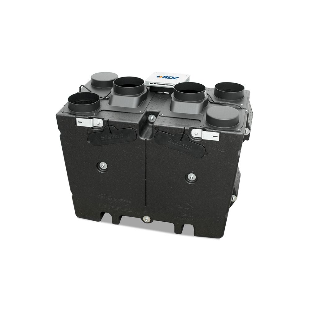 Silavent HRX2D-FC - Unità di ventilazione meccanica con recupero di calore, ad alta efficienza (fino al 85%), Uso in ambito autonomo o condominiale, piccola e media dimensione, By-pass free-cooling incorporato, Installazione verticale a parete con possibile disposizione dei canali a destra o sinistra, Due ventilatori ad alta efficienza, uno sulla mandata e uno sulla ripresa dell'aria.