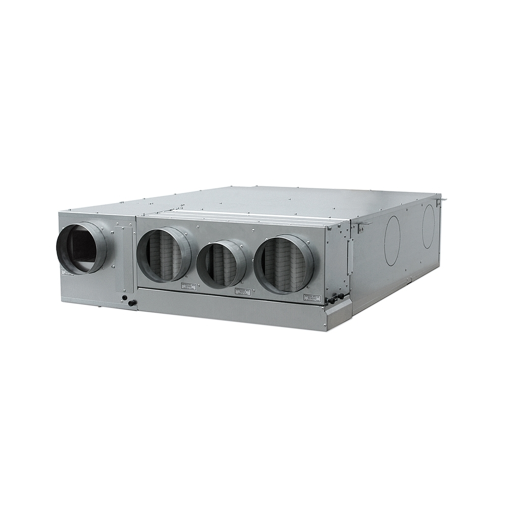 Unit Comfort UC 360-MHE - Installazione orizzontale a controsoffitto, Costruzione monoblocco con unione di due sezioni: sezione di recupero e sezione di trattamento aria (condensata ad aria), Applicazione in ambito residenziale (155 m2 ca), Kit scarico condensa (di serie), Funzionalità di ventilazione, Funzionalità di deumidificazione, Funzionalità di rinnovo aria invernale ed estiva con recupero ad alta efficienza (~90%), Funzionalità di integrazione potenza sensibile invernale ed estiva (a comando), Potenza sensibile estiva gratuita (1386 W), By-pass free-cooling incorporato, Valvola a tre vie con servocomando per il controllo della temperatura dell'aria.