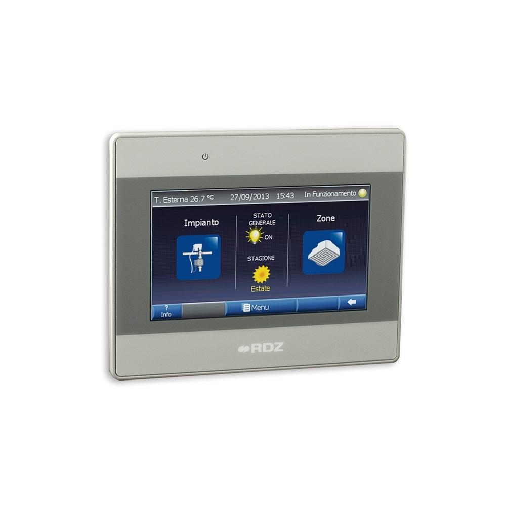 Supervisore Wi-TP Pro - Pannello di controllo touch-screen per la supervisione dell'impianto. Rende intuitivo l'utilizzo della termoregolazione grazie alla flessibilità di visualizzazione e di comando di un touch panel. Wi-TP Pro dà la possibilità di remotare le informazioni attraverso la porta Ethernet. Le informazioni possono essere viste attraverso un PC collegato alla rete Lan o Web con un qualsiasi Browser (ad es. Internet Explorer).