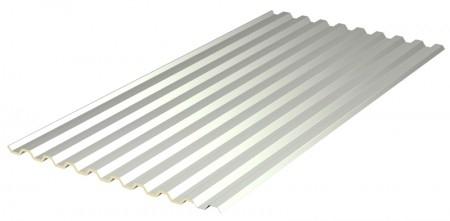 ITP MONO28 – 1012 - Lamiera grecata profilo 28 rivestita da 1 cm di poliuretano nudo. Questo prodotto, rispetto alla semplice lamiera grecata, ha un miglior isolamento acustico, una riduzione del fenomeno della condensa, una migliore resistenza alla grandine, la possibilità di creare il tetto caldo ventilato ed una migliore resistenza al calpestio. Il pannello può essere fornito sia con il poliuretano nudo (standard) che con il poliuretano rivestito con alluminio centesimale colore neutro o colore bianco (a richiesta).  9 greche, altezza greche 28 mm, passo greche 112 mm