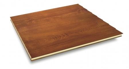 Perlinato - Il PERLINATO è un pannello sandwich con isolamento in poliuretano.  La lamiera esterna presenta delle imbutiture longitudinali che offrono al pannello un aspetto estetico unico.  Le colorazioni finto legno o bianca si sposano perfettamente con la forma e con l'utilizzo di questo pannello.
