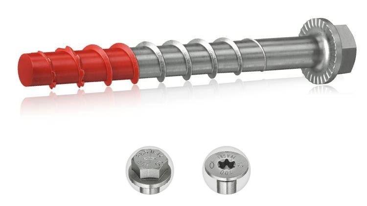 ULTRACUT FBS II 8,10 e 12 in acciaio inox A4 - ULTRACUT FBS II 8-12 US A4 viti in acciaio inox con testa esagonale e rosetta integrata. Viti per calcestruzzo ad alte prestazioni in acciaio inossidabile per installazioni in zona sismica C2 rapide da installare, regolabili e removibili.