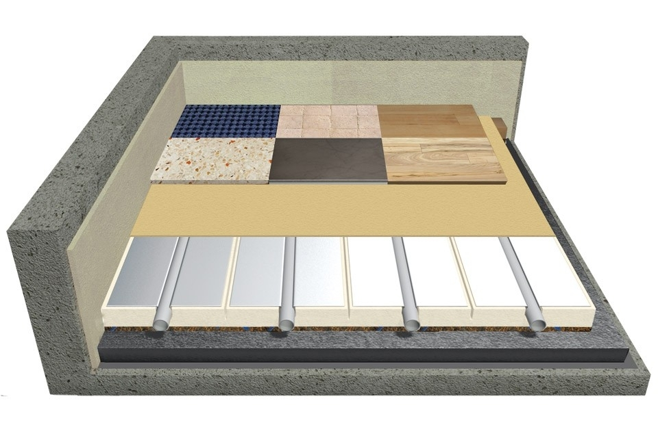 Perfect Dry - Il sistema PERFECT DRY è la massima evoluzione dei sistemi radianti a secco a basso spessore. E' composto da speciali pannelli costituiti da un sandwich in poliuretano racchiuso tra due strati di laminato composito in grado di garantire la resistenza strutturale, accoppiato con un materassino acustico in gomma-sughero nella parte sottostante. Sulla superficie sono incollate delle lamelle in alluminio sagomate per il contenimento della tubazione e la distribuzione del calore. Il sistema viene incollato al sottofondo (può essere indifferentemente un pavimento esistente o un sottofondo molto compatto e liscio) e successivamente finito con un sottile strato di resina poliuretanica bicomponente che farà da supporto per incollare il rivestimento. Lo spessore complessivo del sistema compreso di resina è di 26 mm, al quale va aggiunto solamente lo spessore del rivestimento scelto. Bassissimo spessore e peso ridotto rendono l'installazione semplice e efficiente sia in nuovi edifici che in caso di ristrutturazione. Grazie al principio costruttivo a secco non è necessario attendere i tempi di asciugatura del massetto. È possibile realizzare l'impianto a pavimento completo di rivestimento in circa 1 settimana contro le 4-6 settimane necessarie nel caso di un impianto a pavimento con massetto tradizionale. Un sistema UNIVERSALE, ideale sia in caso di nuove costruzioni che in ristrutturazione.