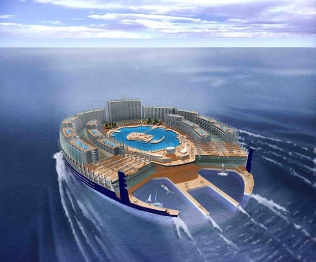 """L'ISOLA AZ - La società Alstom Marine e l'architetto Jean-Philippe Zoppini si uniscono per portare avanti un folle progetto: costruire un'isola gigantesca, in grado di muoversi. Battezzata l'isola """"AZ"""", siispira all' isola a eliche di Giulio Verne, e potrà ospitare fino a 10.000 persone."""
