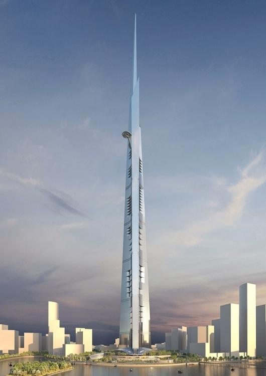 """KINGDOM TOWER - Oltre a quella citata sopra, c'è anche un'altra torre di almeno 1 km di altezza in progetto. Si tratta della """"Kingdom Tower"""" in Arabia Saudita, nella città portuale di Jeddah sul Mar Rosso. Immaginata dal miliardario saudita e Principe Alwaleed ibn Talal, promette di fare concorrenza alla Nakheel Tower di Dubai"""