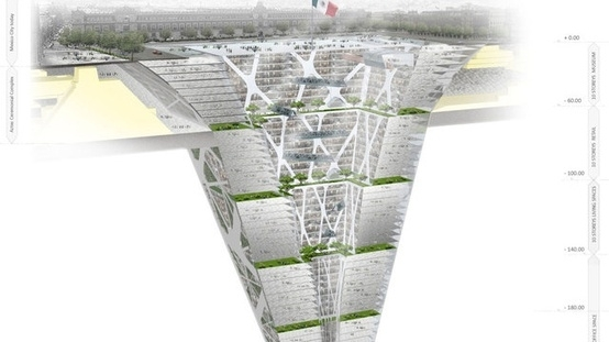 EARTH SCRAPER - L'Earth Scraper è un enorme complesso sotterraneo di 65 piani che si troverà, se il progetto verrà completato, ai piedi della Cattedrale e del Palazzo della Costituzione a Città del Messico. Una lezione (molto ambiziosa) su come costruire un grattacielo senza modificare lo skyline e il paesaggio urbano…