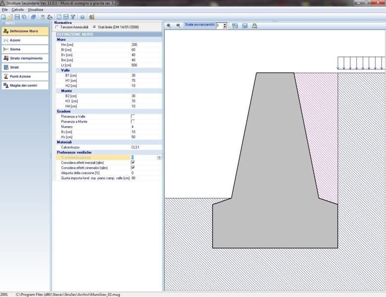 Muro di sostegno a gravità - Il software muri di sostegno a gravità  consente di dimensionare l'opera di sostegno effettuare tutte le verifiche geotecniche (scorrimento, ribaltamento e carico limite) in funzione della normativa selezionata.