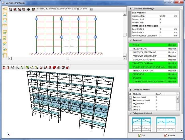 Ponteggi - Il modulo Ponteggi di SW STRUCTURE é stato sviluppato da STACEC in modo da offrire uno strumento completo per la gestione dei ponteggi metallici partendo dalla modellazione tridimensionale e terminando con l'elaborazione del PIMUS e, se necessario, passando per l'analisi strutturale e per tutte le verifiche specifiche del caso. Il software prevede l'utilizzo di ponteggi a tubi e giunti, a telai prefabbricati o misti.