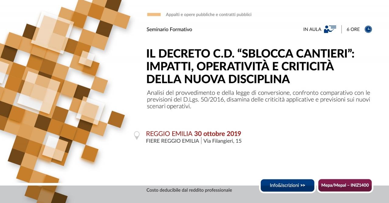 30 ottobre Reggio Emilia sblocca cantieri