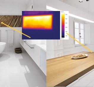 CALDOBENESSERE - IL CALDO DEL SOLE NEL TUO AMBIENTE - L'innovativo sistema di riscaldamento ecologico che porta il caldo del sole nella tua casa o nella tua impresa. L'innovazione nel settore del riscaldamento realizzata attraverso prodotti e superfici radianti ad alto contenuto tecnologico. CALDOBENESSERE soddisfa l'esigenza di coniugare la tecnologia all'effetto estetico con massimo confort e bassissimo spessore, garantendo un elevato rendimento nei pavimenti, rivestimenti e complementi d'arredo. Gli elementi automodulanti consumano solo il quantitativo di energia necessario a mantenere la temperatura ad un livello ideale. Il mantenimento in continuo di una temperatura uniforme garantisce una maggiore efficienza rispetto a un sistema con cicli di accensione e spegnimento. Il sistema CALDOBENESSERE non richiede l'istallazione del contatore del gas, di caldaie, di collettori, di valvole di zona, canne fumarie e tubazioni del gas. Riduce i tempi di istallazione, non necessita di alcuna manutenzione annuale, consentendo un notevole risparmio economico nel rispetto del protocollo di Kyoto. La nostra tecnologia di riscaldamento utilizza lo stesso principio dei raggi solari, nella sola gamma FIR (Far InfraredRays) compresa tra i 6-14 micron, che si allinea perfettamente con gli spettri di assorbimento della nostra pelle.