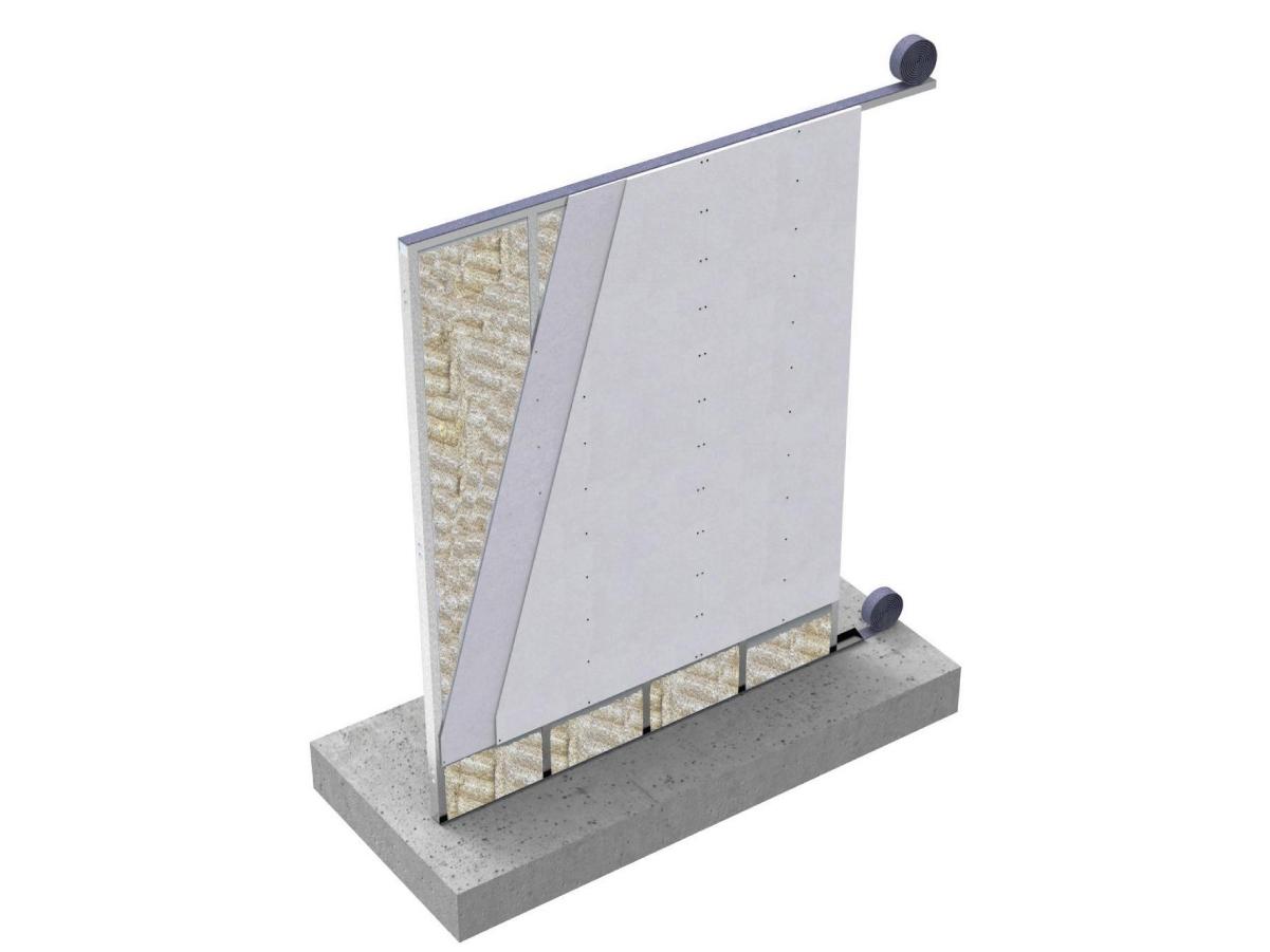 """MODULO JJ I75cg - Parete Interna a secco con sistema Jendy Joss® denominato MODULO JJ ad elevate prestazioni acustiche e meccaniche, composta da moduli """"preassemblati"""" in stabilimento, progettati e realizzati a misura con eventuale impiantistica elettrica ed idraulica già predisposta, per uno spessore complessivo di126mm. I moduli sono composti da una orditura metallica formata da guide orizzontali e montanti verticali di acciaio zincato DX51, spessore 08/10, larghezza 75mm, passo 600mm opportunamente assemblati, dotati di idonee forometrie necessarie ai fissaggi ed all'assemblaggio. I profili di base vengono isolati dalle strutture esistenti con una guaina in polietilene impermeabile dello spessore di 3 mm e con funzione di taglio acustico.  La pannellatura di ogni modulo è costituita da uno strato di lastre in cemento alleggerito fibrorinforzato di spessore 12,5mm per lato, avvitate all'orditura metallica con apposite viti VT4.0*32 zincate, autofresanti ed autoforanti.  Nell'intercapedine di ogni modulo è inserito un materassino di lana minerale dello spessore di 70mm con funzione di isolamento acustico.  Tutte le lastre in cemento alleggerito fibrorinforzato hanno elevate caratteristiche di resistenza meccanica, isolamento termico,  resistenza all'acqua, Resistenza al Fuoco di 240 min, limitate dilatazioni termiche per applicazione in ambienti esterni e direttamente a contatto con l'acqua prima della finitura. Ogni modulo è dotato di un sistema di """"immaschiamento"""" per il fissaggio con il modulo adiacente tramite viti autoperforanti VT4.0*32. Il fissaggio ai solai avviene con ulteriori profili di acciaio zincato da 12/10mm tassellati alla struttura esistente ed ai quali si avviterà il modulo prima dell'applicazione del cartongesso di finitura da 13mm di spessore che sarà fissato tramite viti autofilettanti direttamente alla lastra sottostante. Si adotterà una tradizionale stuccatura dei giunti, degli angoli e della testa delle viti per la lastra in cartongesso, in"""