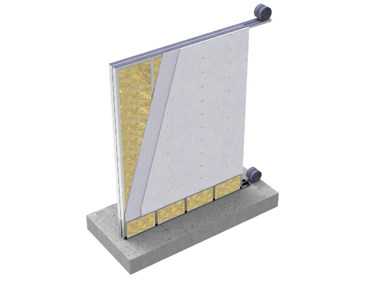 """MODULO JJ I75cg+75cg - Parete Interna doppia a secco con sistema Jendy Joss® denominato MODULO JJ ad elevate prestazioni acustiche e meccaniche, composta da moduli """"preassemblati"""" in stabilimento, progettati e realizzati a misura con eventuale impiantistica già predisposta. La parete ha uno spessore complessivo ≥ 236mm ed ha una prestazione di isolamento acustico maggiore di 63 dB. I moduli sono composti da una orditura metallica formata da guide orizzontali e montanti verticali di acciaio zincato DX51, spessore 08/10, larghezza 75mm, passo 600mm. opportunamente assemblati, dotati di idonee forometrie necessarie ai fissaggi ed all'assemblaggio. I profili di base vengono isolati dalle strutture esistenti con una guaina in polietilene impermeabile dello spessore di 3 mm e con funzione di taglio acustico.  La pannellatura di ogni modulo è costituita da uno strato di lastre in cemento alleggerito fibrorinforzato di spessore 12,5mm per lato, avvitate all'orditura metallica con apposite viti VT4.0*32 zincate, autofresanti ed autoforanti.  Nell'intercapedine di ogni modulo è inserito un materassino di lana minerale dello spessore di 70mm con funzione di isolamento acustico.  Tutte le lastre in cemento alleggerito fibrorinforzato hanno elevate caratteristiche di resistenza meccanica, isolamento termico,  resistenza all'acqua, Resistenza al Fuoco di 240 min, limitate dilatazioni termiche per applicazione in ambienti esterni e direttamente a contatto con l'acqua prima della finitura. Ogni modulo è dotato di un sistema di """"immaschiamento"""" per il fissaggio con il modulo adiacente tramite viti autoperforanti VT4.0*32. Le due strutture vanno distanziate di almeno 10mm per evitare la trasmissione di vibrazioni e migliorare il comportamento acustico. Il fissaggio ai solai avviene con ulteriori profili di acciaio zincato da 12/10 tassellati alla struttura esistente ed ai quali si avviterà il modulo prima dell'applicazione del cartongesso di finitura da 13mm di spessore che sarà fiss"""