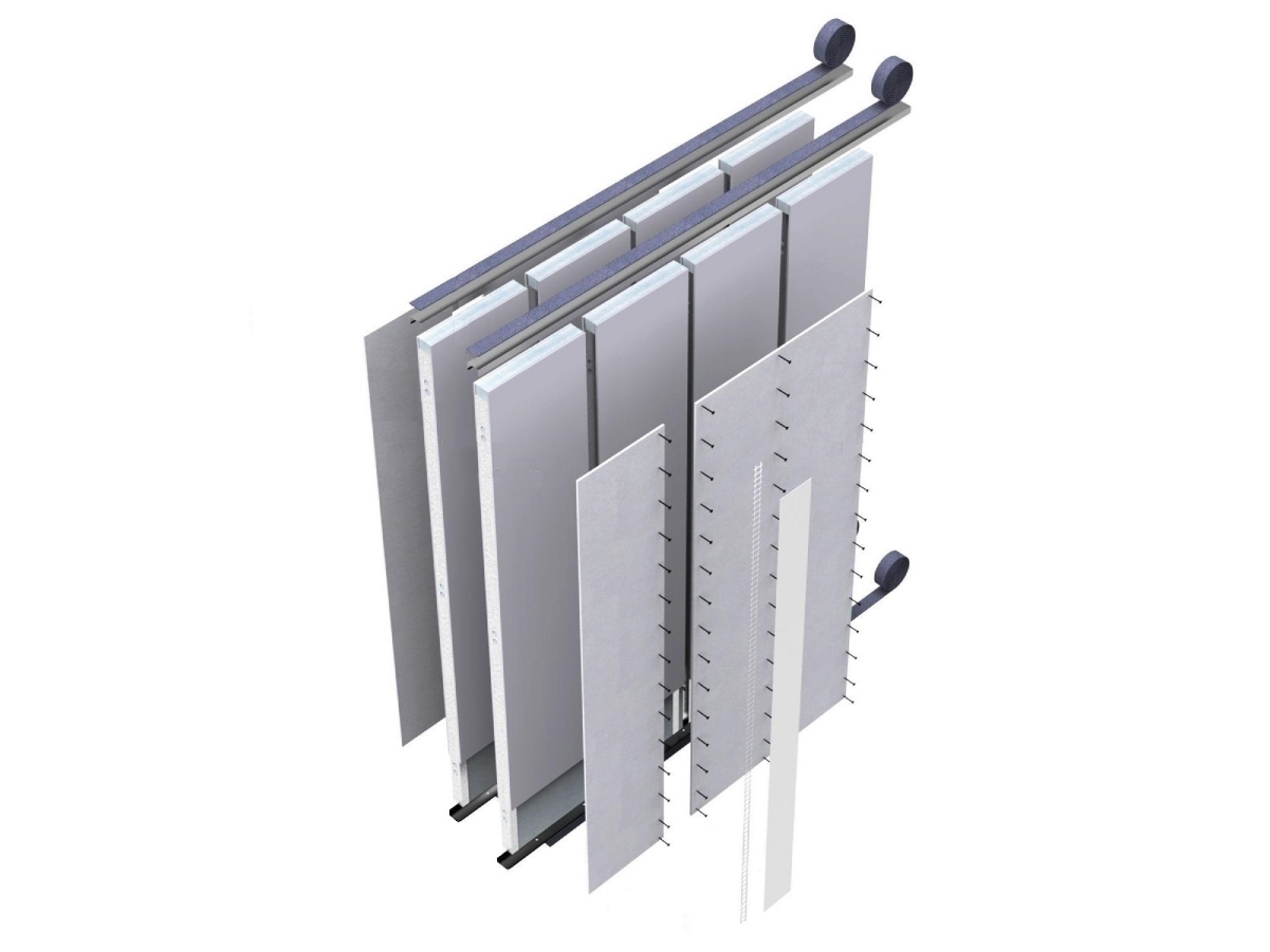 """MODULO JJ I100cg - Parete Interna a secco con sistema Jendy Joss® denominato MODULO JJ ad elevate prestazioni acustiche e meccaniche, composta da moduli """"preassemblati"""" in stabilimento, progettati e realizzati a misura con eventuale impiantistica elettrica ed idraulica già predisposta, per uno spessore complessivo di151mm.  I moduli sono composti da una orditura metallica formata da guide orizzontali e montanti verticali di acciaio zincato DX51, spessore 08/10, larghezza 100mm, passo 600mm opportunamente assemblati, dotati di idonee forometrie necessarie ai fissaggi ed all'assemblaggio. I profili di base vengono isolati dalle strutture esistenti con una guaina in polietilene impermeabile dello spessore di 3 mm e con funzione di taglio acustico.  La pannellatura di ogni modulo è costituita da uno strato di lastre in cemento alleggerito fibrorinforzato di spessore 12,5mm per lato, avvitate all'orditura metallica con apposite viti VT4.0*32 zincate, autofresanti ed autoforanti.  Nell'intercapedine di ogni modulo è inserito un materassino di lana minerale dello spessore di 100mm con funzione di isolamento acustico.  Tutte le lastre in cemento alleggerito fibrorinforzato hanno elevate caratteristiche di resistenza meccanica, isolamento termico,  resistenza all'acqua, Resistenza al Fuoco di 240 min, limitate dilatazioni termiche per applicazione in ambienti esterni e direttamente a contatto con l'acqua prima della finitura. . Ogni modulo è dotato di un sistema di """"immaschiamento"""" per il fissaggio con il modulo adiacente tramite viti autoperforanti VT4.0*32. Il fissaggio ai solai avviene con ulteriori profili di acciaio zincato da 12/10mm tassellati alla struttura esistente ed ai quali si avviterà il modulo prima dell'applicazione del cartongesso di finitura da 13mm di spessore che sarà fissato tramite viti autofilettanti direttamente alla lastra sottostante. Si adotterà una tradizionale stuccatura dei giunti, degli angoli e della testa delle viti per la lastra in cartonges"""