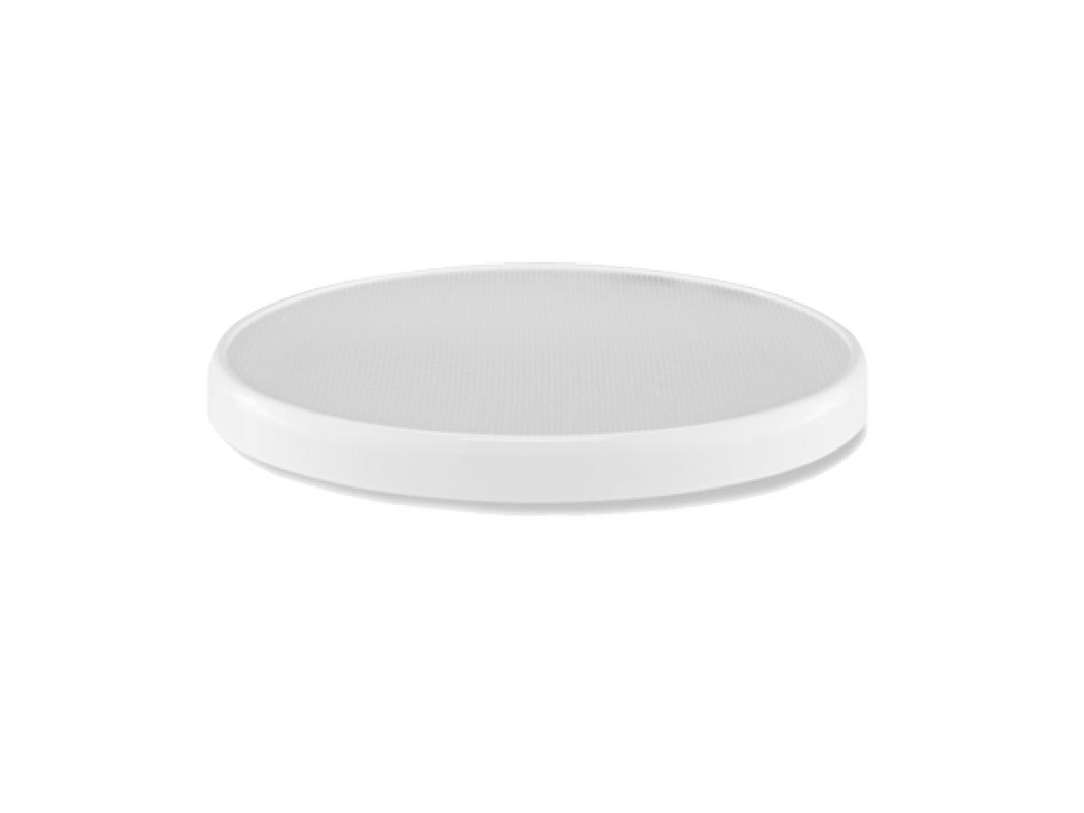 Diffusore prismatico circolare -  Per applicazioni senza controsoffittatura  Il diffusore SolaMaster DS 330-O & DS 750-O, per applicazioni senza controsoffittatura come magazzini e fabbriche, è fornito con un diffusore prismatico standard. Sia questo che il diffusore opzionale OptiView sono progettati per collegarsi direttamente al condotto di estensione, anche se entrambi possono essere adattati a un controsoffitto. Un trim ring di rivestimento opzionale è disponibile per entrambi i diffusori. Il diffusore prismatico standard si fonde praticamente in qualsiasi spazio per una diffusione della luce naturale ed è progettato per erogare la maggior parte della luce verso il basso, cioè la superficie di lavoro.