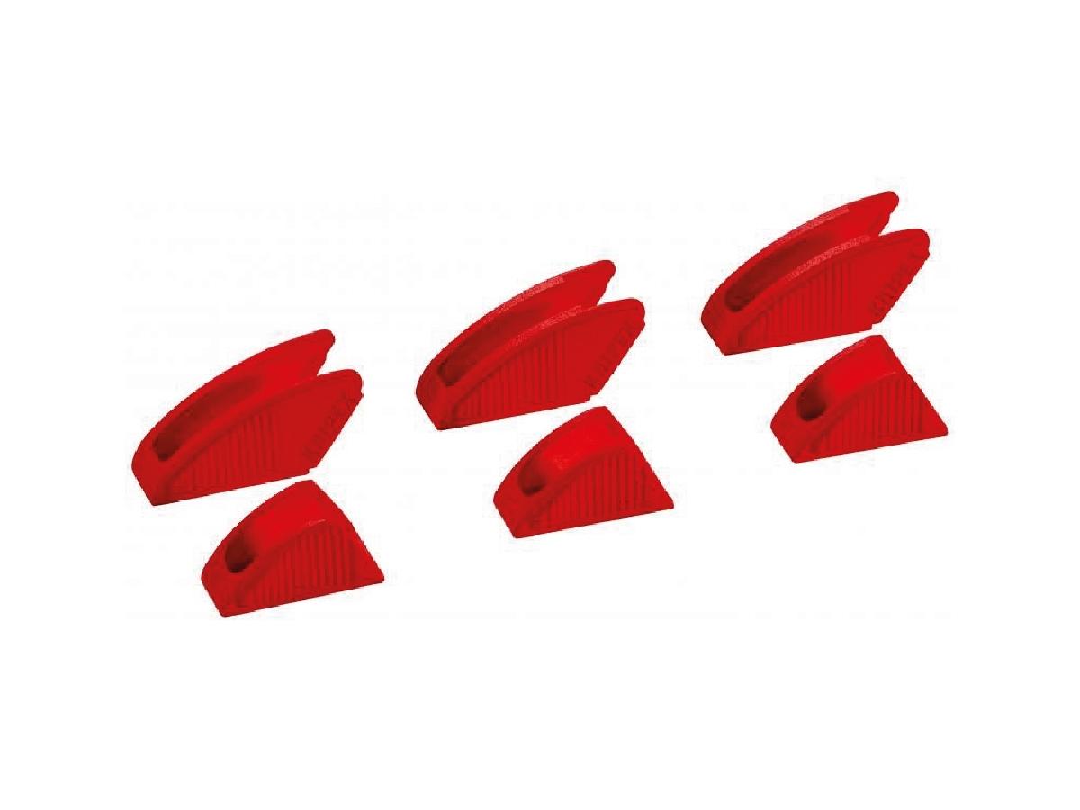 Ganasce Protettive - Codice : 86 09 180 V01 - 86 09 250 V01 - 86 09 300 V01  - Ottimale per accessori di design e materiali altamente sensibili grazie a superfici di presa morbide e lisce - Consente l'uso su cromo se le ganasce della pinza sono state danneggiate da un'applicazione impropria o troppo grossolana - Facile fissaggio a mano e fissaggio affidabile sulle ganasce della pinza tramite un gancio di aggancio interno - Set composto da 3 paia di ganasce protettive in plastica (come in figura)