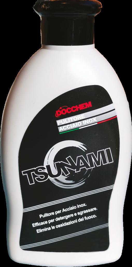 Pulitore Acciaio Inox - Linea Tsunami, Docchem - Il pulitore per Acciaio Inox è il detergente in crema ideale per sgrassare facilmente e velocemente le superfici metalliche particolarmente sporche e macchiate. Idoneo anche per eliminare le ossidazioni più persistenti create dal fuoco. Rende l'acciaio lucido e idrorepellente.   DESCRIZIONE DEL PRODOTTO Detergente professionale cremoso utilizzato per pulire, detergere e sgrassare tutti i supporti realizzati in acciaio inox. Efficace anche per eliminare le ossidazioni dei fuochi. Il prodotto lascia la superficie lucida e idrorepellente.