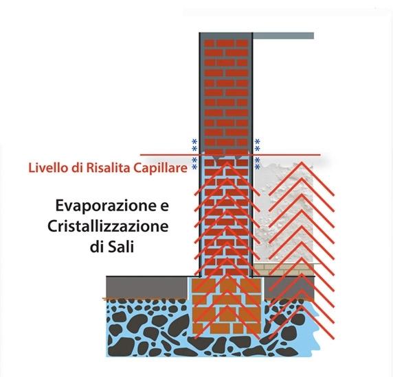La causa della risalita capillare - La causa della risalita capillare è un'interferenza elettrica presente nel terreno sottostante alla casa che incrementa notevolmente la capacità capillare del muro e favorisce la risalita dell'acqua.
