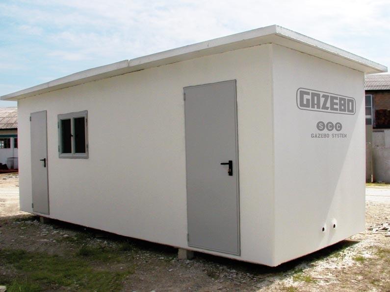 """Vani Servizi - Locali Tecnici - I Vani Servizi – Locali Tecnici sono adatti al contenimento di macchinari, quadri elettrici, gruppi di pressurizzazione, ma possono anche essere utilizzati come locali per uffici, cantine, spogliatoi e bagni. I Vani Servizi – Locali Tecnici sono realizzati con gli innovativi """"FRC Gazebo System"""" o """"SCC Gazebo System""""."""