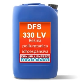 DFS 330 LV - poliuretanica idroespansiva - Resina poliuretanica idroespansiva monocomponente ad alta flessibilità, reagisce con l'acqua e comunque in ambienti umidi,per formare una schiuma impermeabile,sigillante elastica per riparazione di perdite d'acqua, crepe, giunti e  congiunzioni tra pavimenti e muri in locali interrati.  È un prodotto puro che va attivato al momento dell'uso con un'attivatore.  Raccomandato per: riparazione di crepe, in strutture in calcestruzzo, pietrame, muri misti ecc.; umidità di controspinta in muri controterra (scantinati); per isolare il perimetro di pozzetti di acquedotti o fognature che perdono.